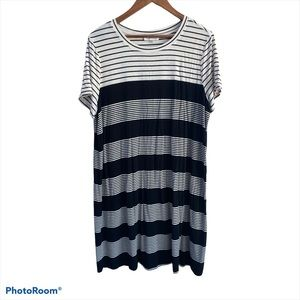 Calvin Klein Black White Stripe Knit Dress 1X